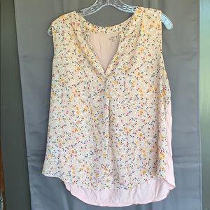 Loft Outlet Pink Sleeveless Top floral EUC size L